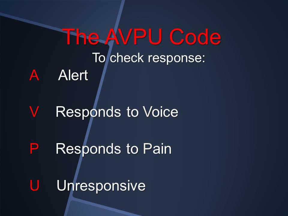 The AVPU Code A Alert V Responds to Voice P Responds to Pain