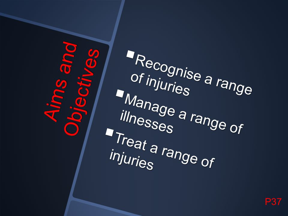 Aims and Objectives Recognise a range of injuries