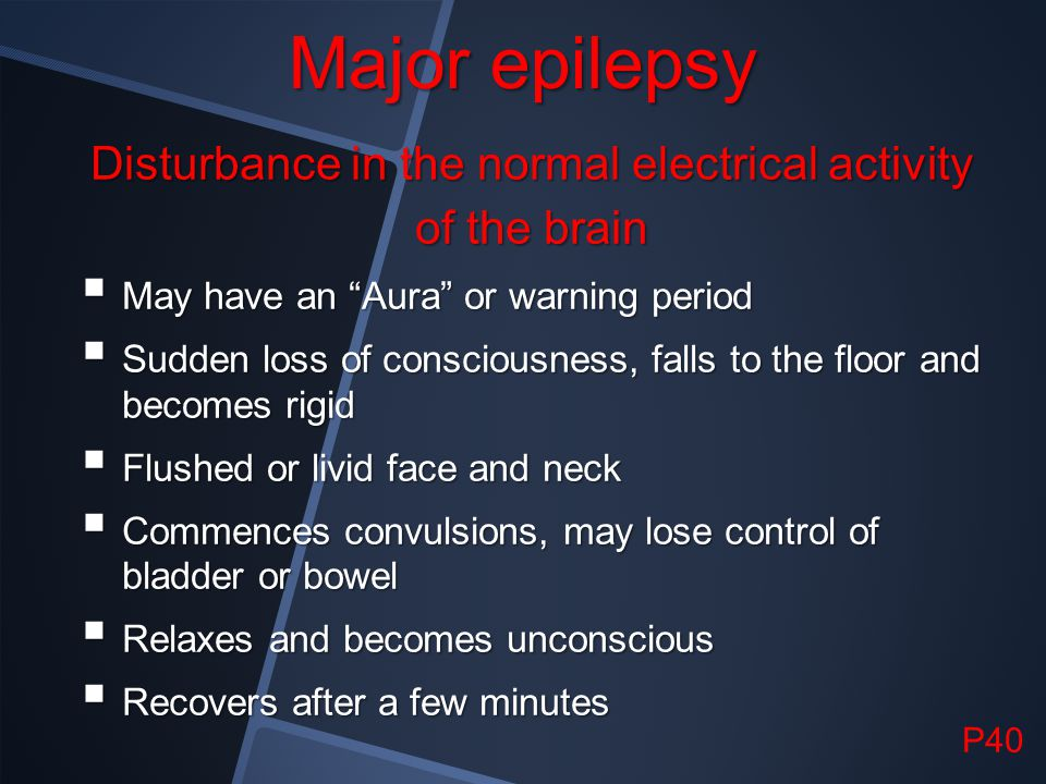 Disturbance in the normal electrical activity