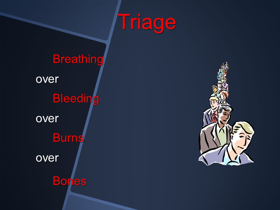 Triage Breathing over Bleeding Burns Bones
