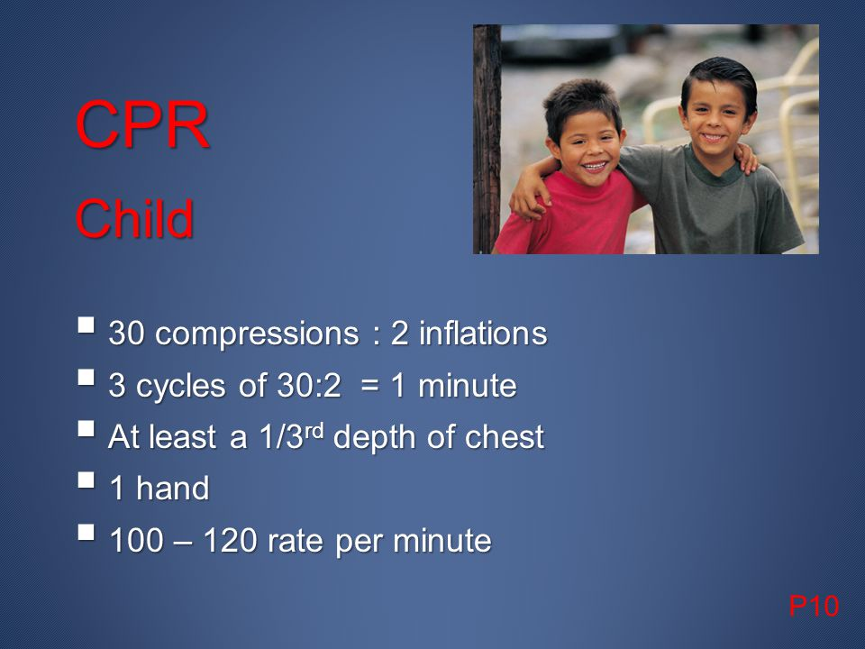 CPR Child 30 compressions : 2 inflations 3 cycles of 30:2 = 1 minute