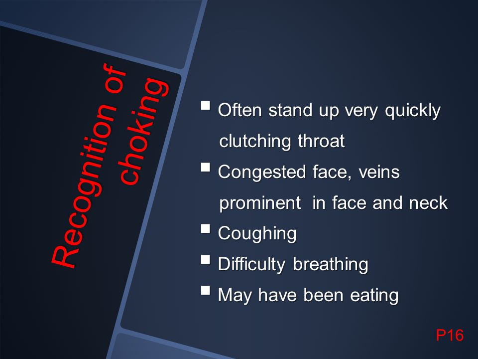Recognition of choking