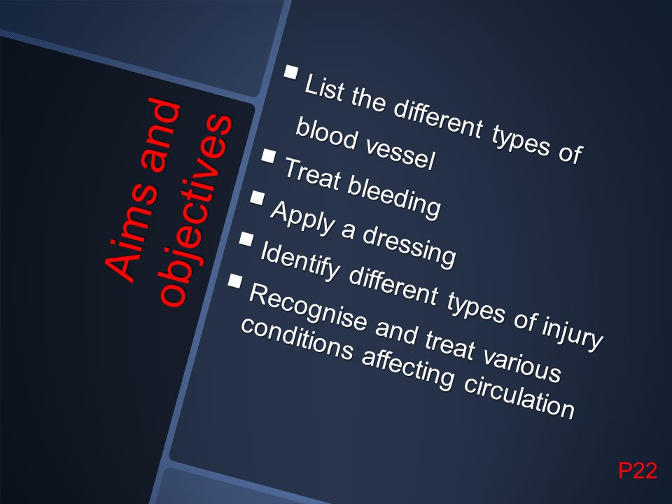 Aims and objectives List the different types of blood vessel