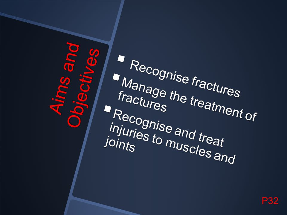 Aims and Objectives Recognise fractures