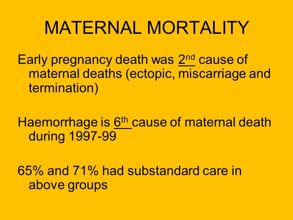 MATERNAL MORTALITY Early pregnancy death was 2nd cause of maternal deaths (ectopic, miscarriage and termination)