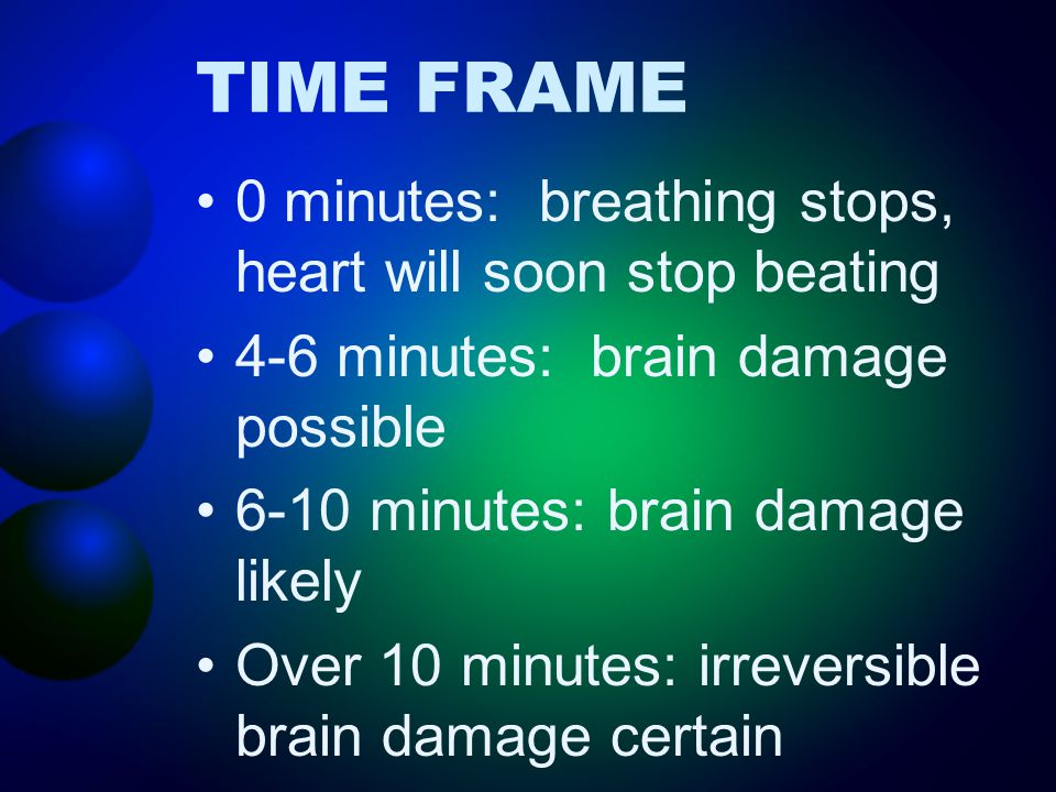 TIME FRAME 0 minutes: breathing stops, heart will soon stop beating