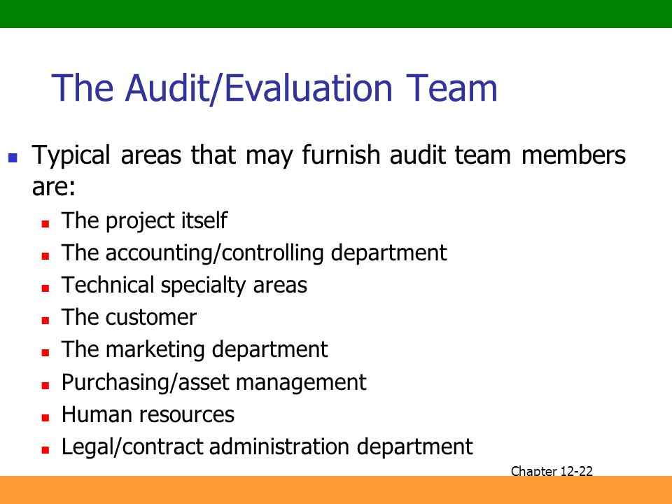 The Audit/Evaluation Team
