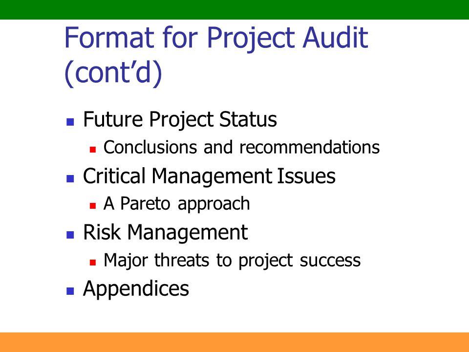 Format for Project Audit (cont'd)