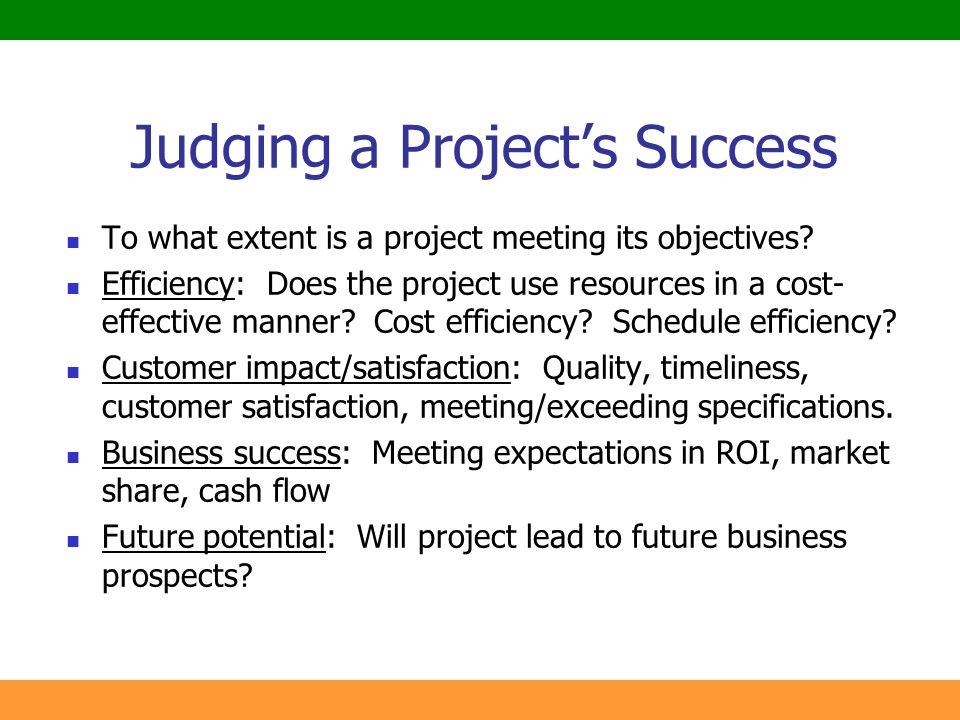 Judging a Project's Success