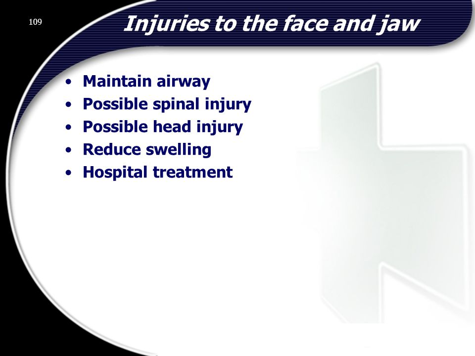 Injuries to the face and jaw