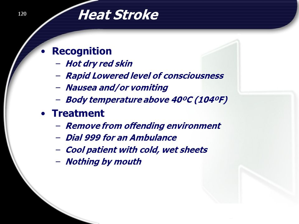 Heat Stroke Recognition Treatment Hot dry red skin
