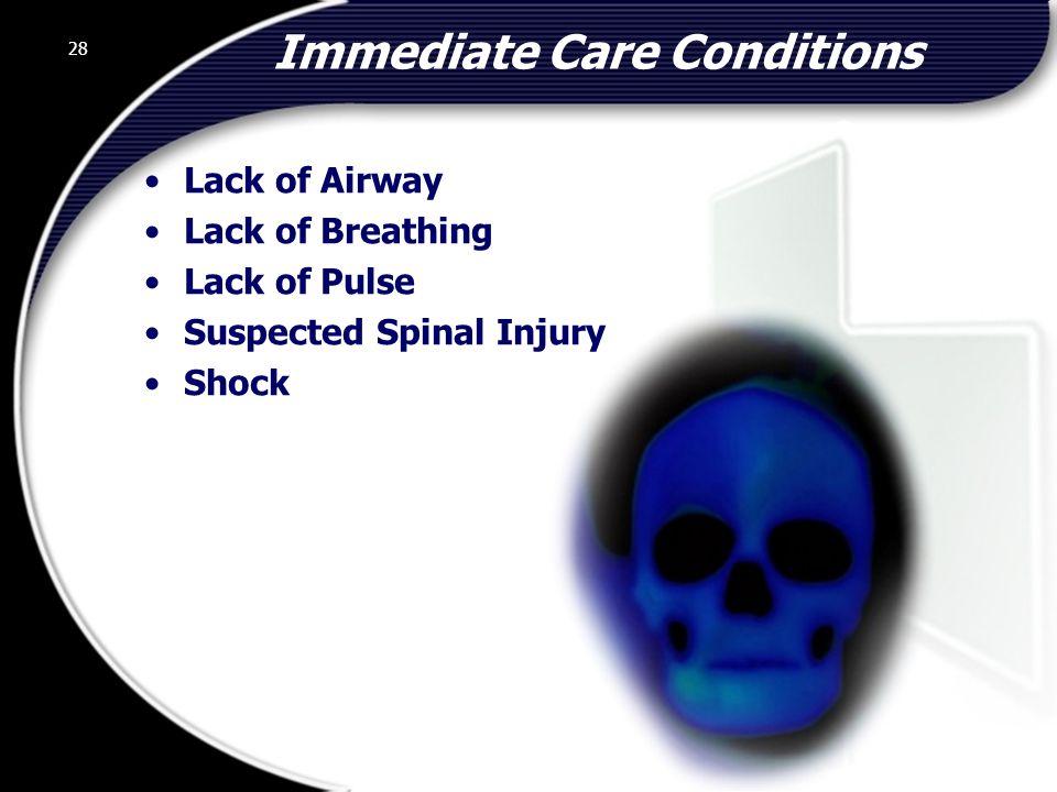 Immediate Care Conditions