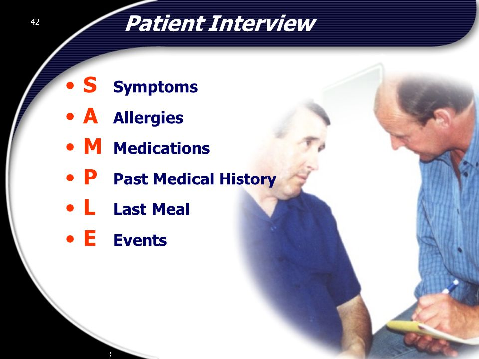 Patient Interview S Symptoms A Allergies M Medications