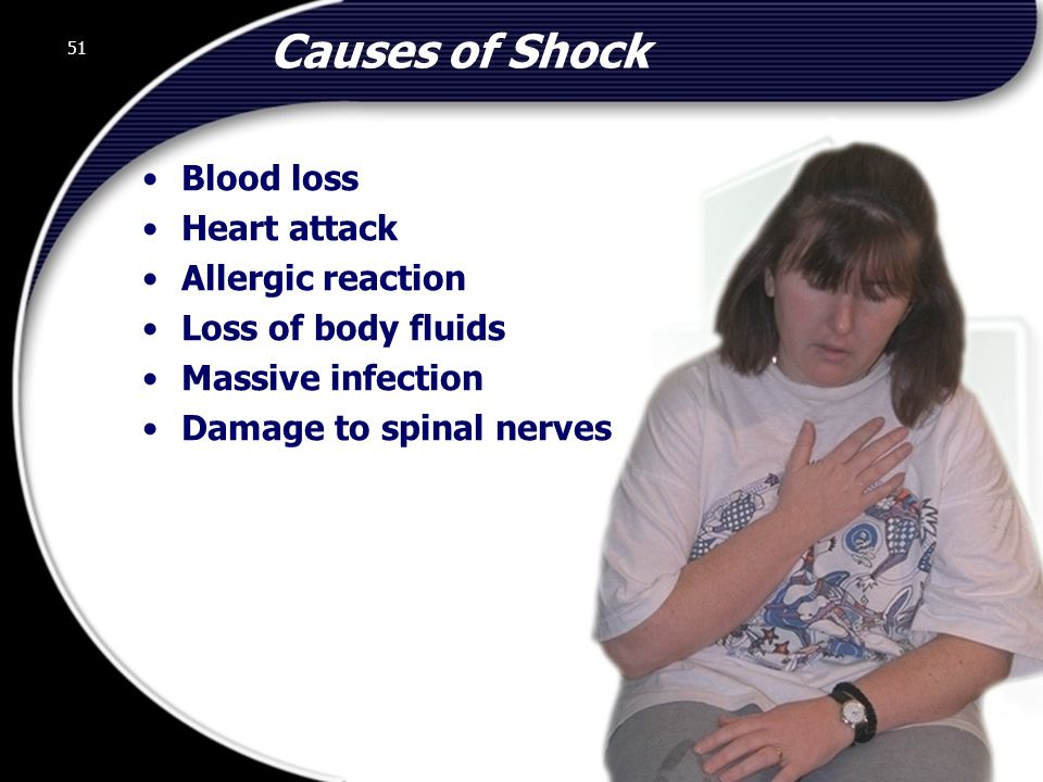 Causes of Shock Blood loss Heart attack Allergic reaction