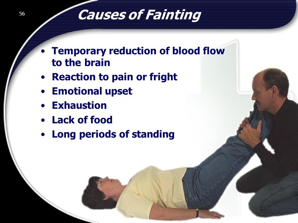 Causes of Fainting Temporary reduction of blood flow to the brain