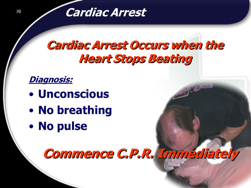 Cardiac Arrest Occurs when the Commence C.P.R. Immediately