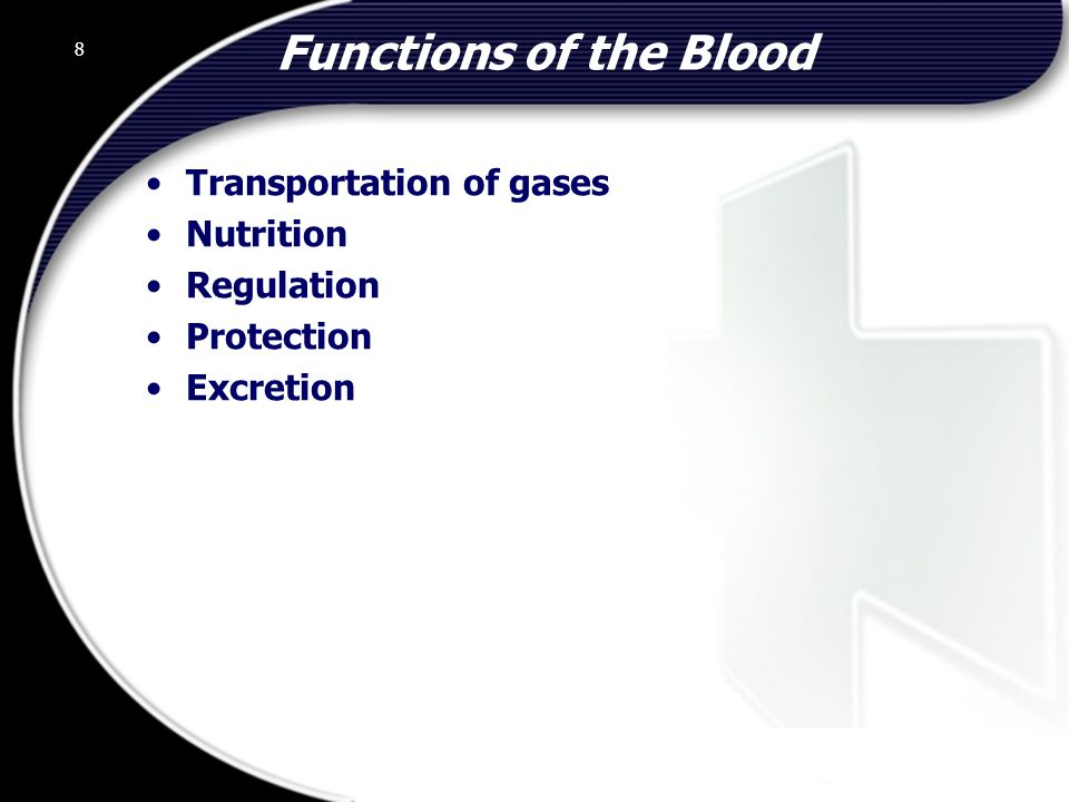 Functions of the Blood Transportation of gases Nutrition Regulation