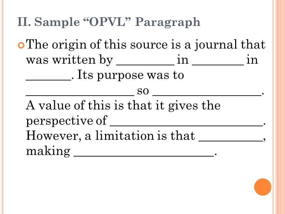 II. Sample OPVL Paragraph
