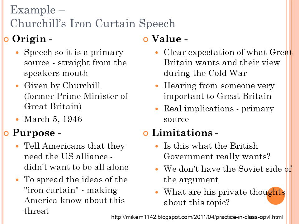 Example – Churchill's Iron Curtain Speech