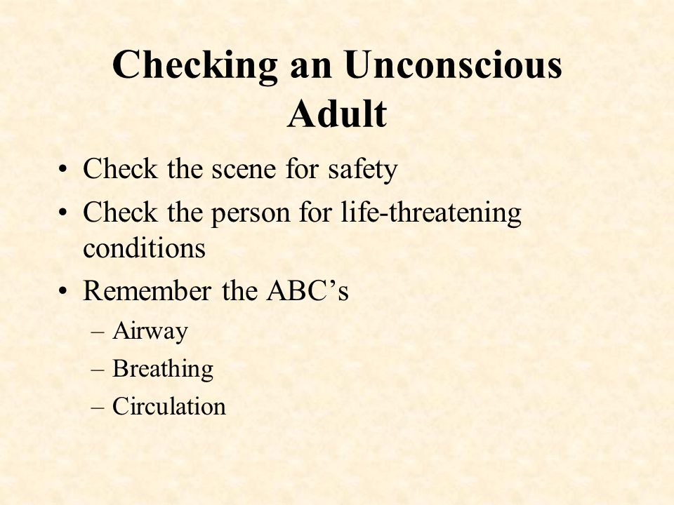 Checking an Unconscious Adult