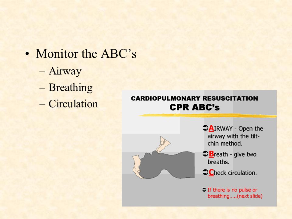 Monitor the ABC's Airway Breathing Circulation