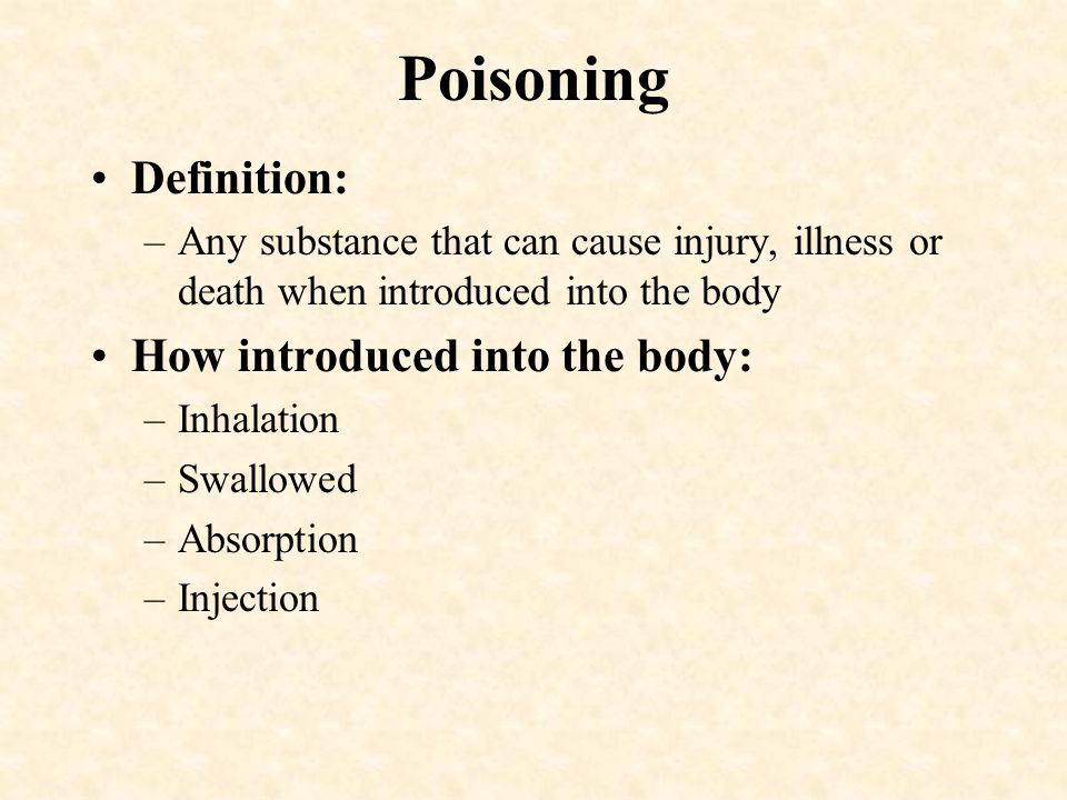 Poisoning Definition: How introduced into the body:
