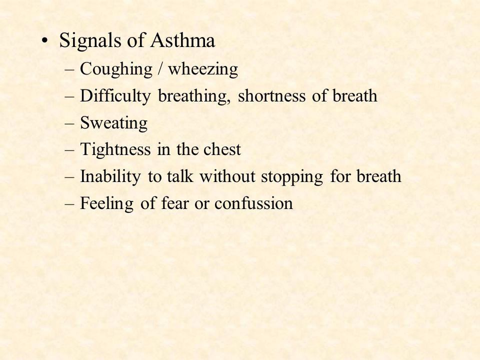 Signals of Asthma Coughing / wheezing