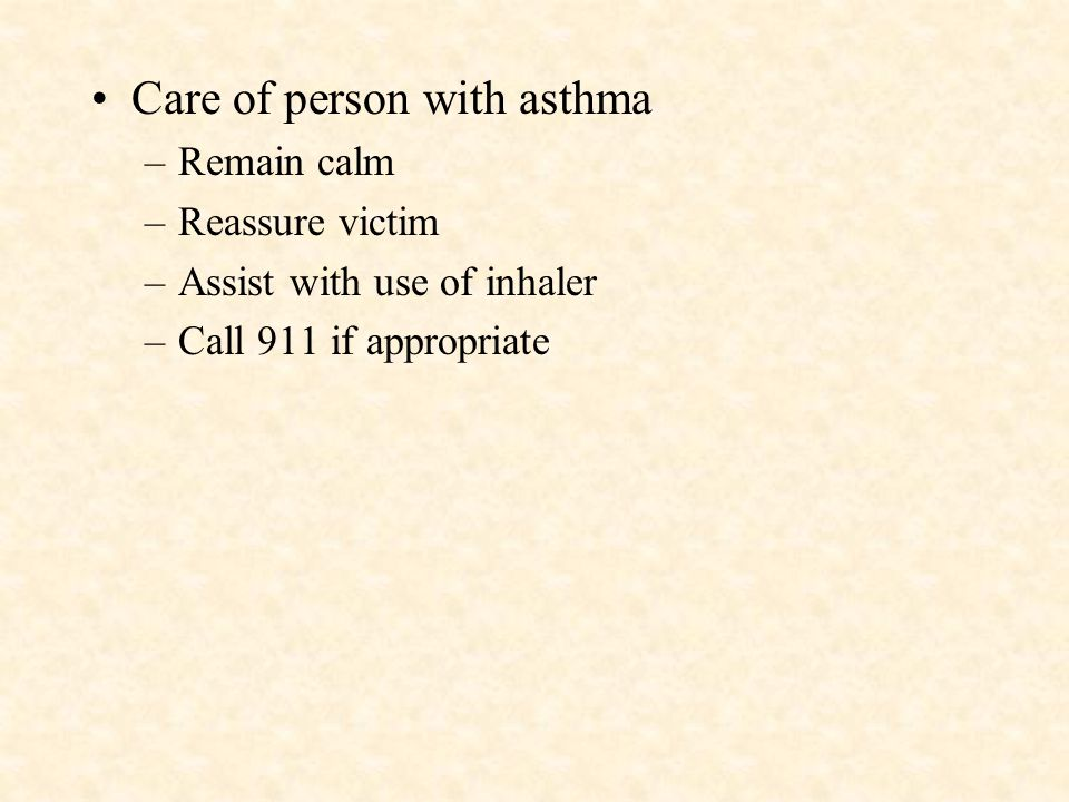 Care of person with asthma