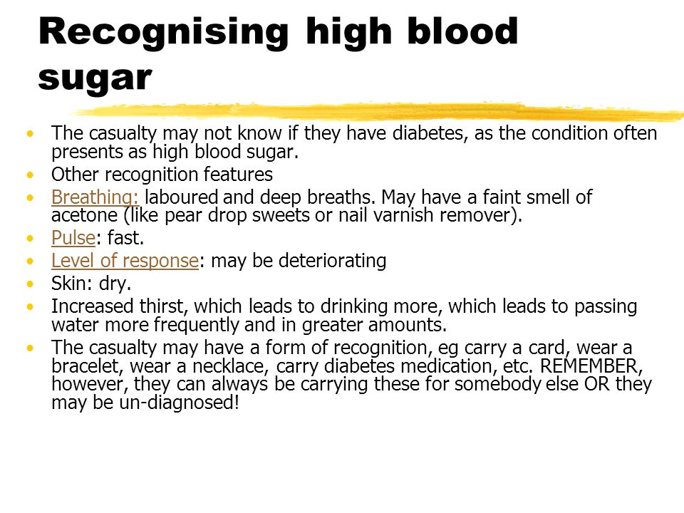 Recognising high blood sugar