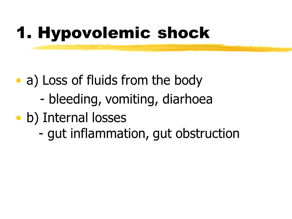 1. Hypovolemic shock a) Loss of fluids from the body