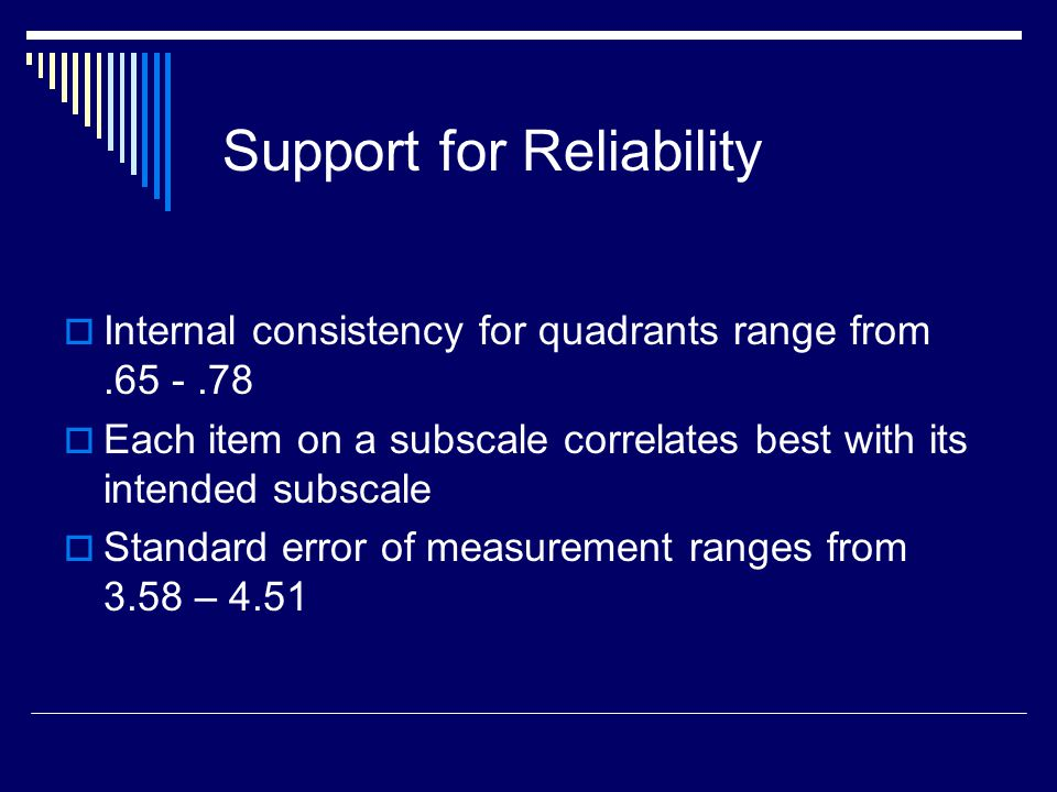 Support for Reliability