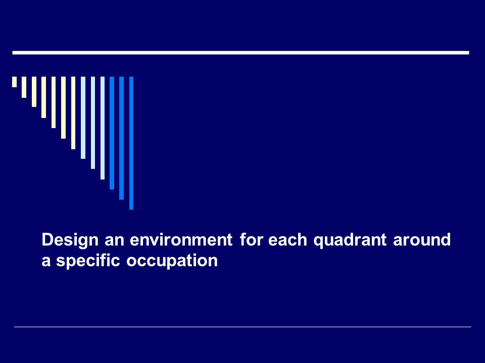Design an environment for each quadrant around a specific occupation