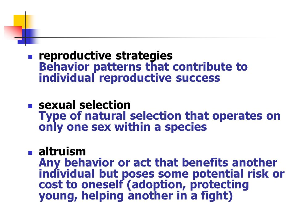 reproductive strategies Behavior patterns that contribute to individual reproductive success