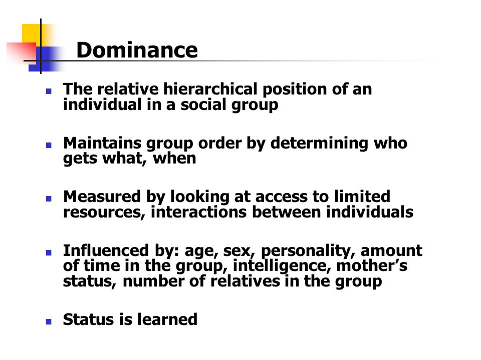 Dominance The relative hierarchical position of an individual in a social group. Maintains group order by determining who gets what, when.