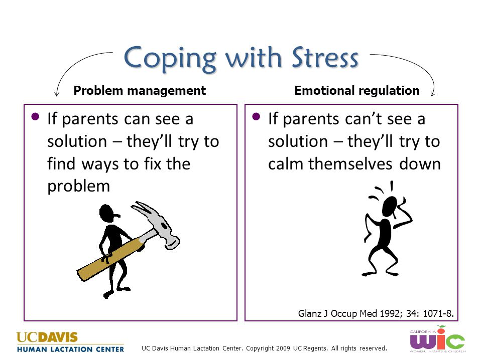 Coping with Stress Problem management. Emotional regulation. If parents can see a solution – they'll try to find ways to fix the problem.