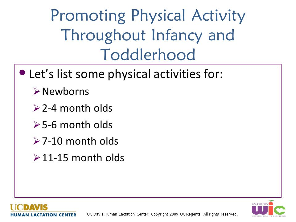 Promoting Physical Activity Throughout Infancy and Toddlerhood