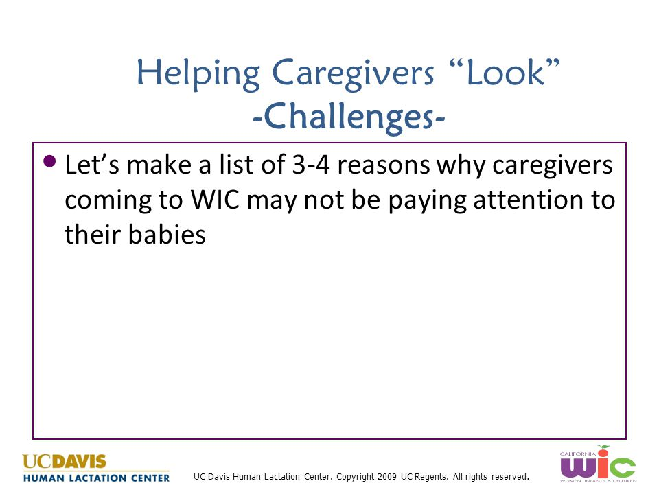 Helping Caregivers Look -Challenges-