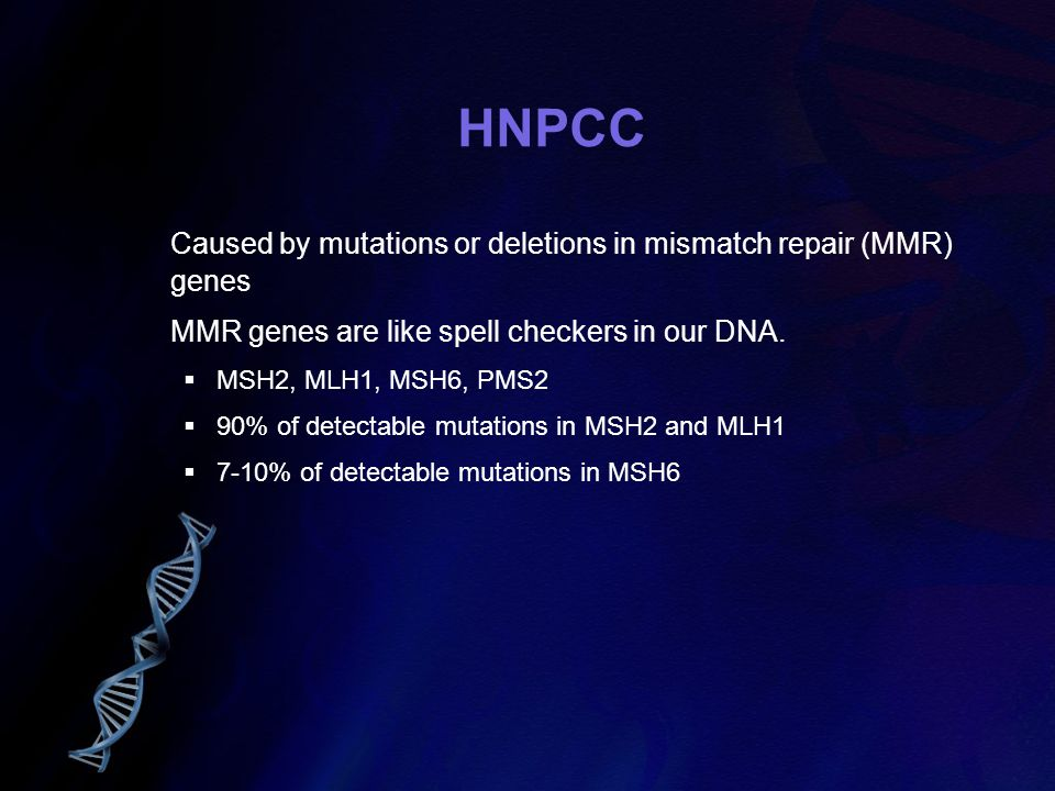 HNPCC Caused by mutations or deletions in mismatch repair (MMR) genes