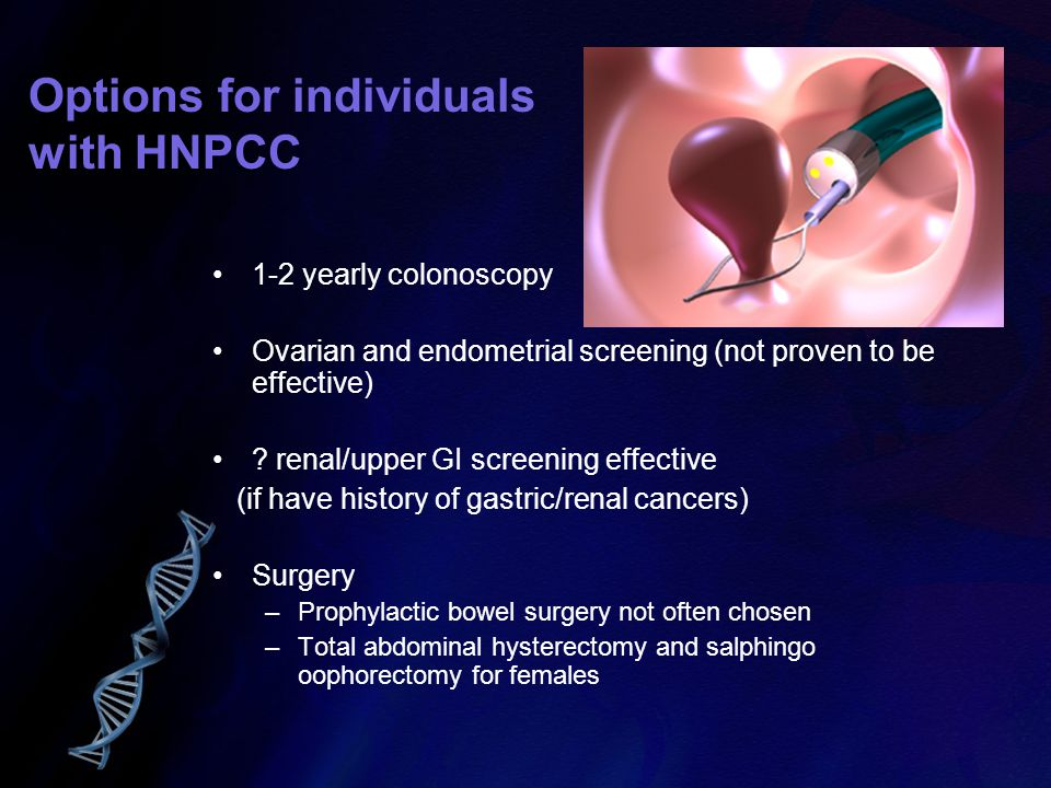 Options for individuals with HNPCC