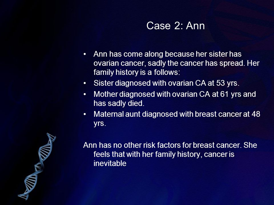 Case 2: Ann Ann has come along because her sister has ovarian cancer, sadly the cancer has spread. Her family history is a follows: