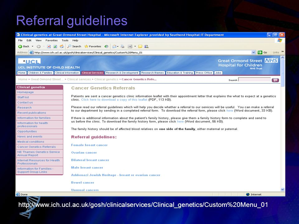 Referral guidelines Referral guidelines can be found on our website, along with a fh form that can be printed off for patients to fill in.....