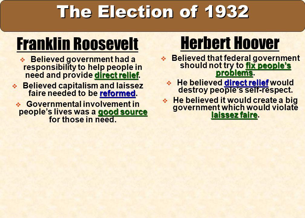 The Election of 1932 Franklin Roosevelt Herbert Hoover