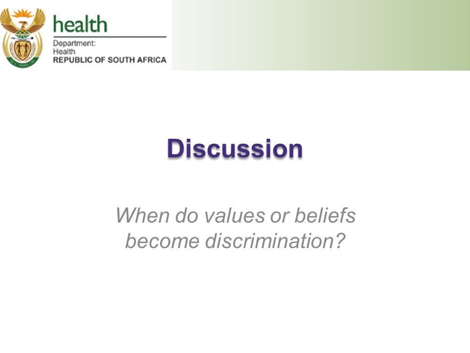 When do values or beliefs become discrimination