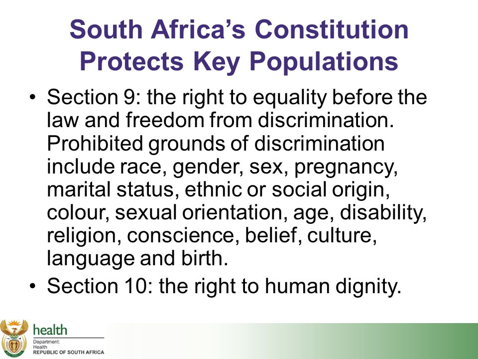 South Africa's Constitution Protects Key Populations