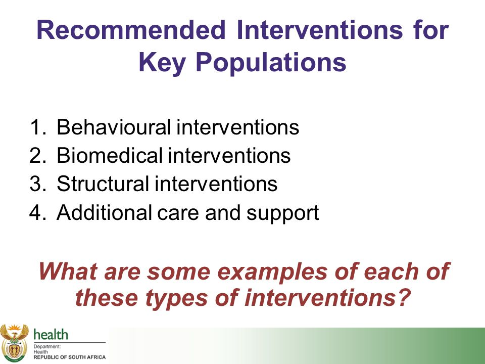 Recommended Interventions for Key Populations