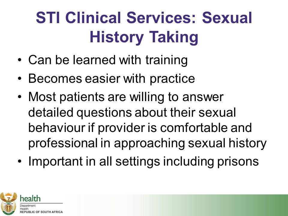 STI Clinical Services: Sexual History Taking