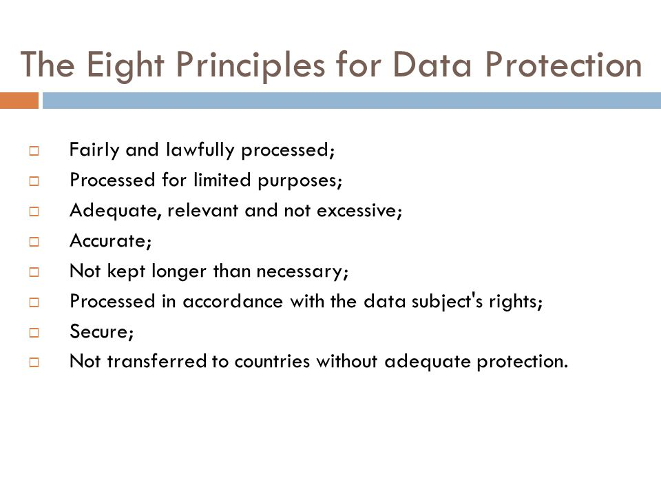 The Eight Principles for Data Protection