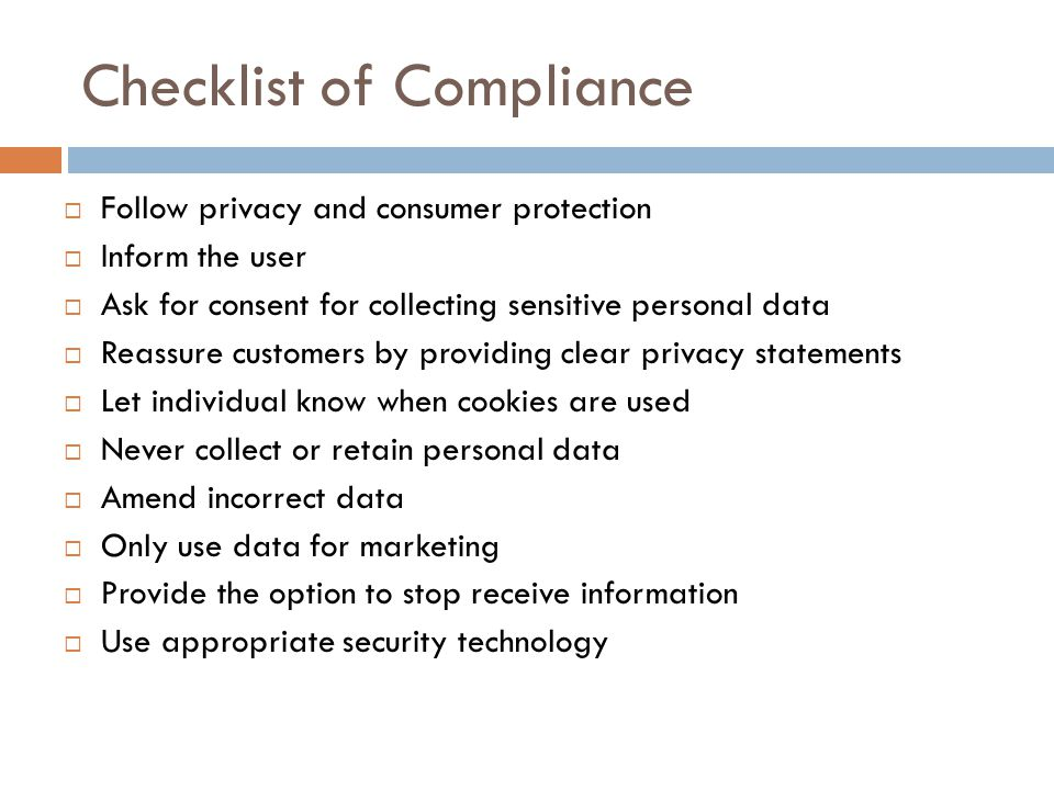 Checklist of Compliance