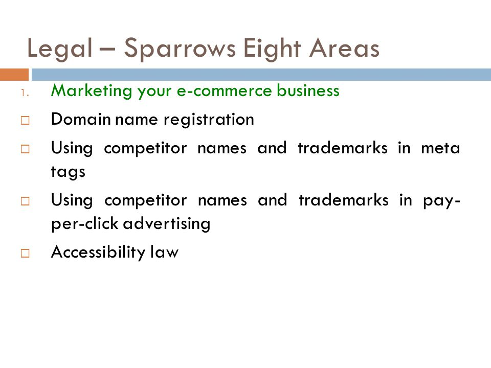 Legal – Sparrows Eight Areas
