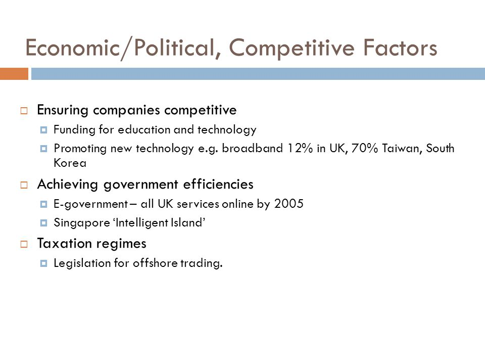 Economic/Political, Competitive Factors